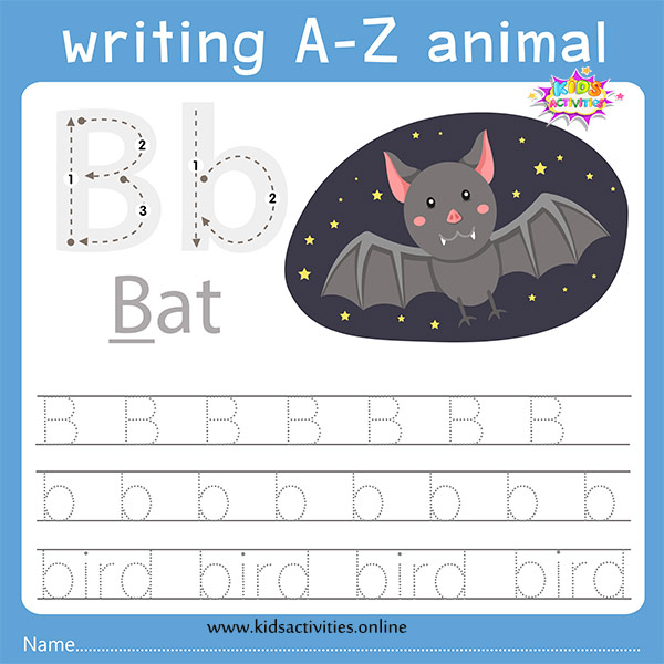 Tracing letters worksheet: Bb