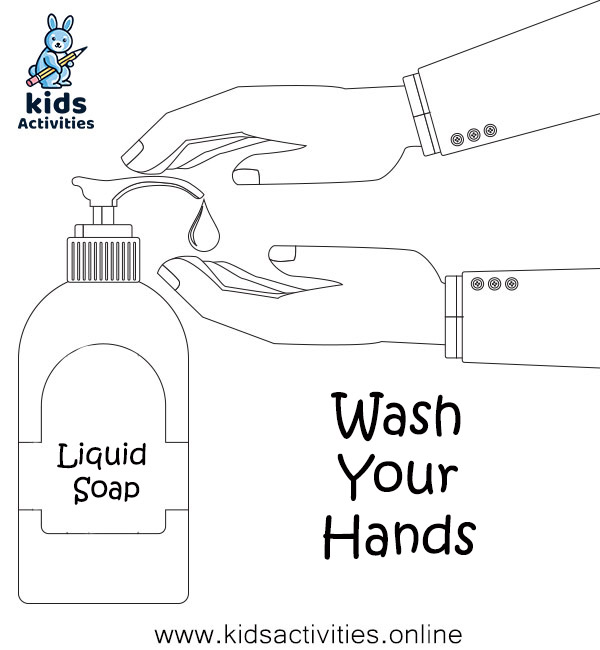 CDC hand washing coloring pages