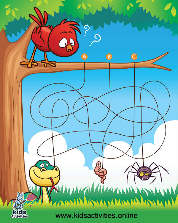 Education maze game bird with food