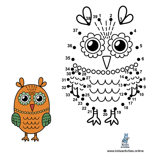 Connect the dots to draw the cute owl and color