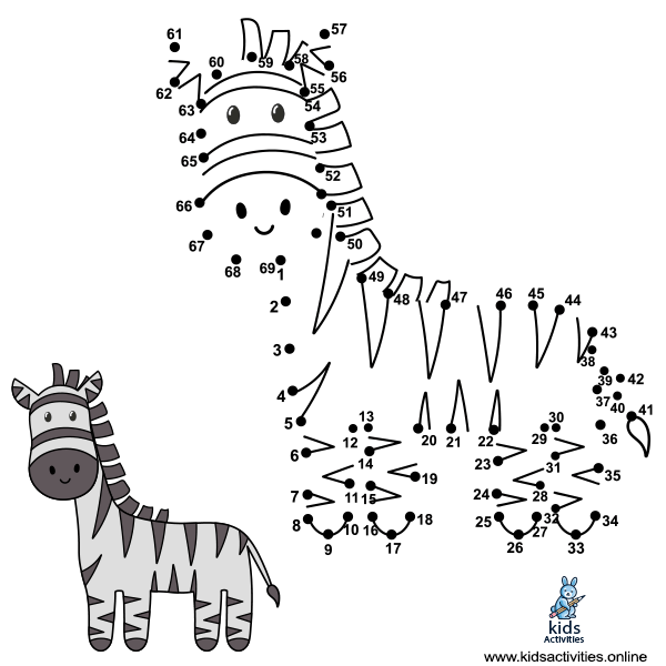 Connect the dots to draw the cute zebra