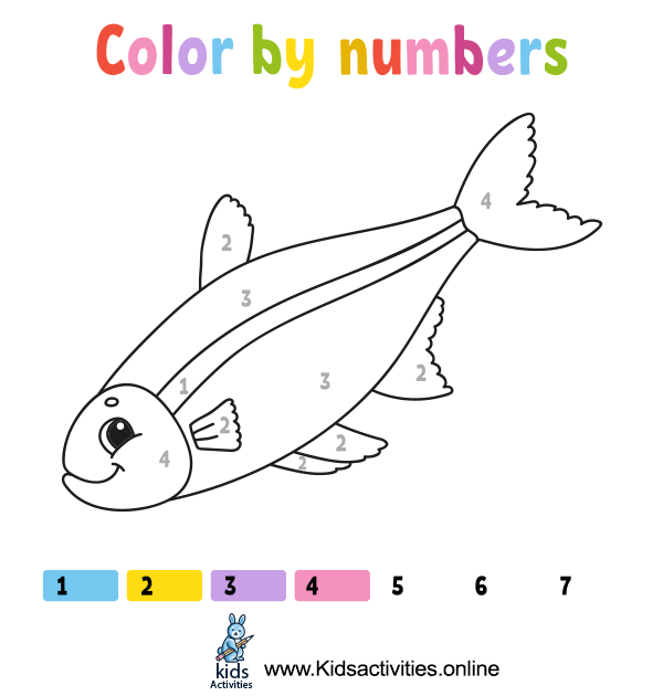 Color cute cartoon fish by numbers.