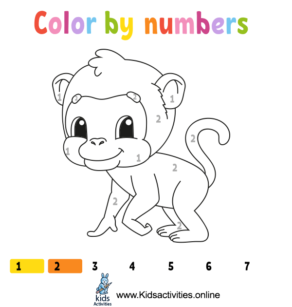 Coloring by numbers animals