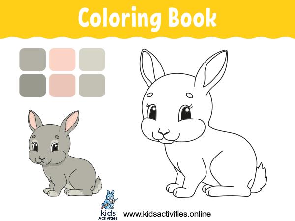 Cute rabbit cartoon coloring book