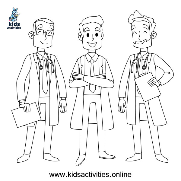 Free Doctors coloring sheet for kids