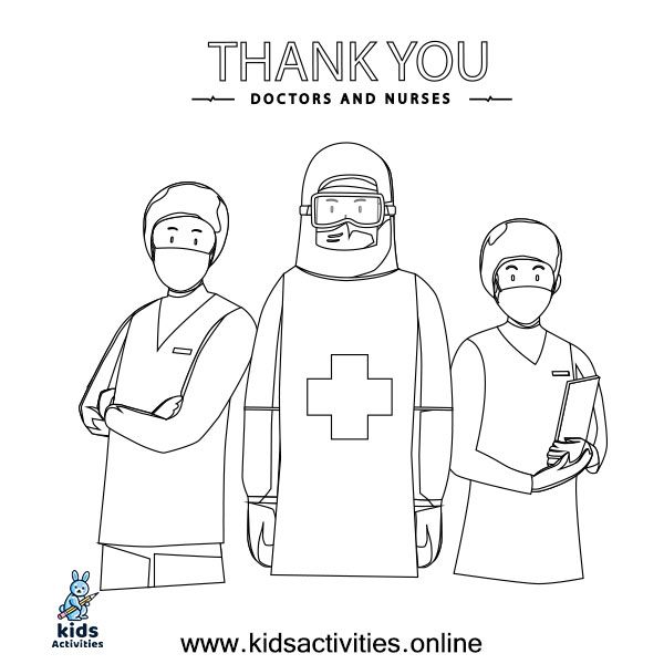 Thank you essential workers coloring page