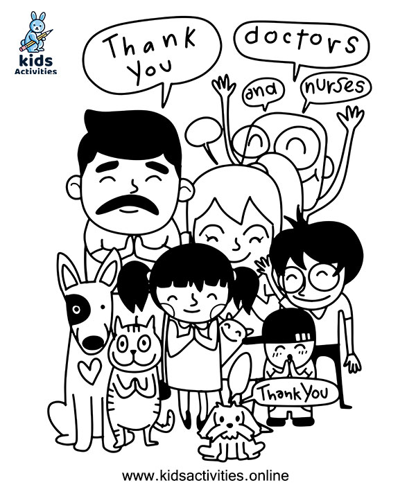 doodle thank you, doctors and nurses coloring page
