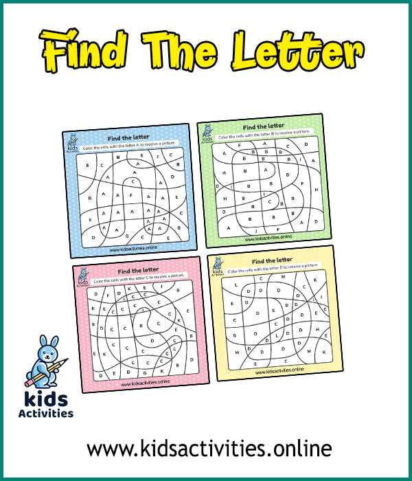 Free Color by letter worksheets for preschool - ABC For Coloring