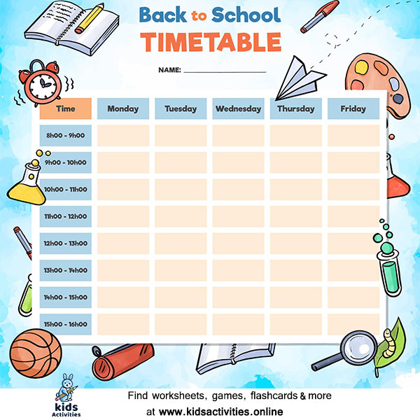 Daily School timetable printable free