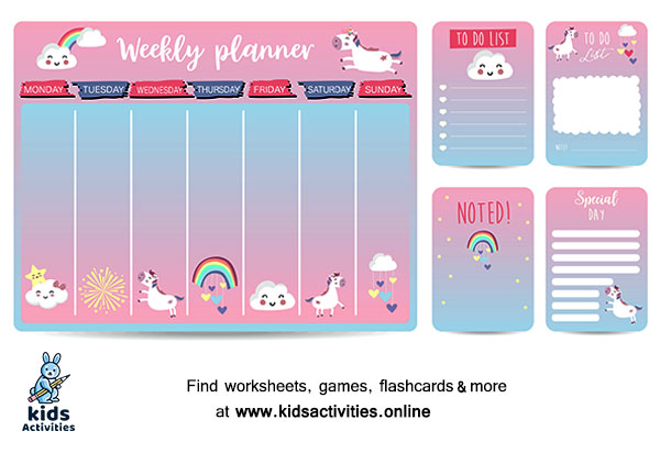 Cute weekly planner kid with unicorn