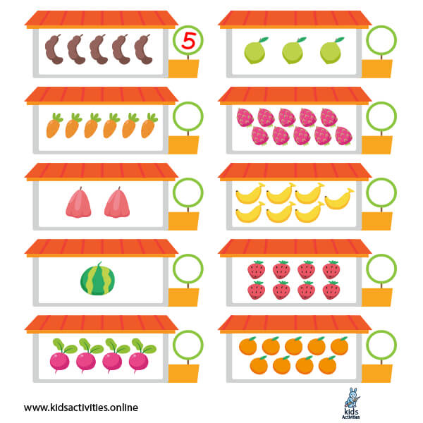 Numbers 1-10 printable Kindergarten Math Worksheets Counting
