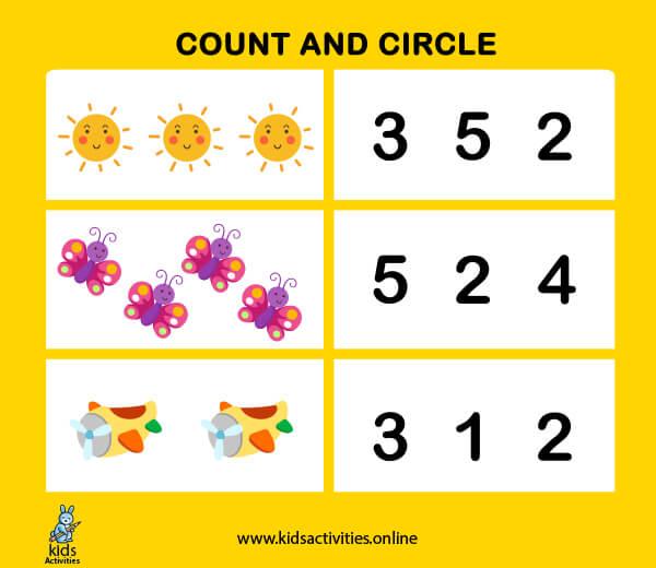 Preschool number worksheets 1-10 - counting-numbers