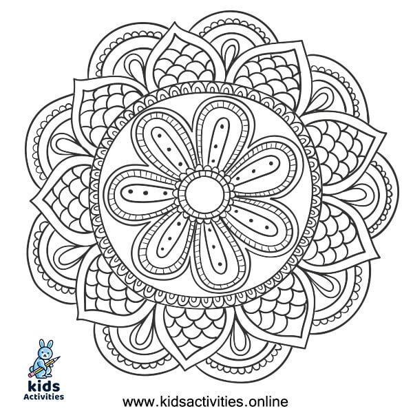 Advanced mandala coloring page