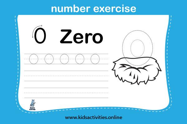 Kindergarten math worksheet free - Number 0
