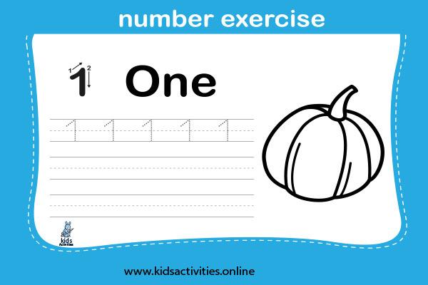 Free printable number tracing worksheet - Number 1