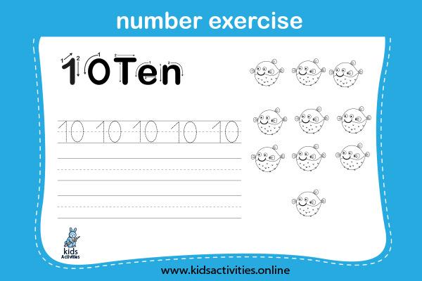 Free! Printable Writing Numbers 1-10 Worksheets - Ten