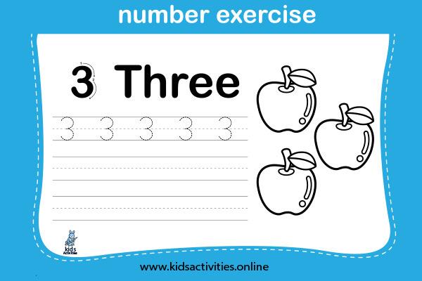 Kinder math worksheets - Number 3