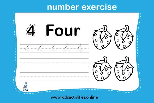 Free! Printable Writing Numbers Worksheets - Number 4