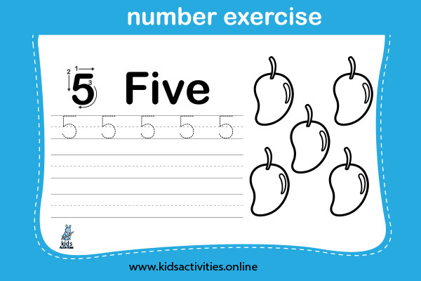 Free! Printable Writing Numbers 1-10 Worksheets - Five