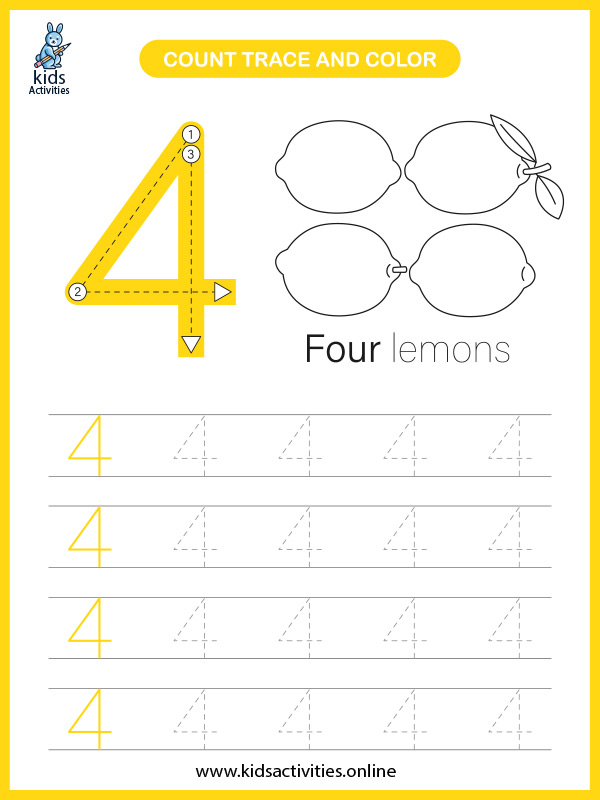 Free printable math worksheets for preschool kids - counting number 4