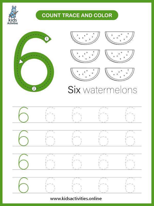 Printable number worksheet for preschool - counting number 6