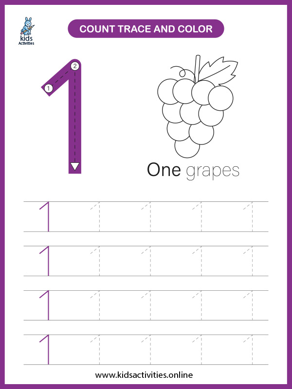 Kindergarten math worksheets for counting number 1