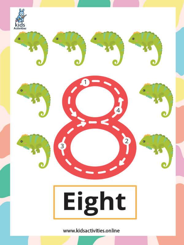 Free printable Flashcards for kids - Number 8