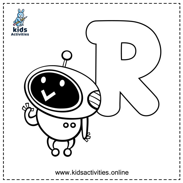Free Alphabet coloring pages a z printable - letter R