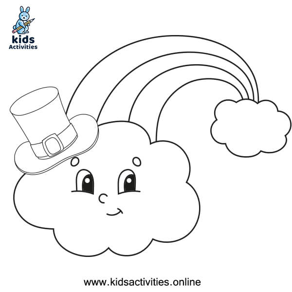 Printable rainbows with clouds for kids