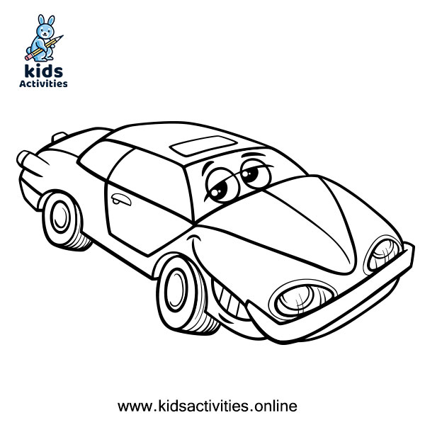 A car coloring page