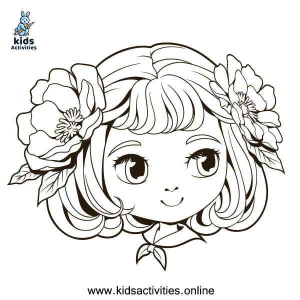 kawaii anime girl coloring pages
