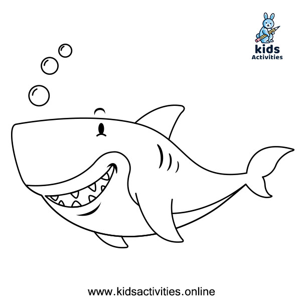 Free Printable coloring page for kids - shark