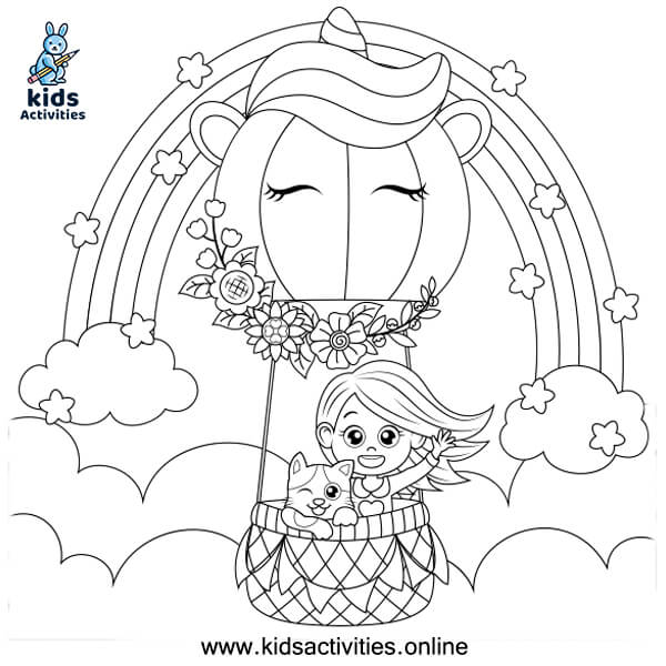 Rainbow coloring page printable free