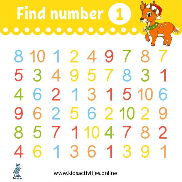 preschoolnumber worksheets1-10 printable ( find number 1 worksheet