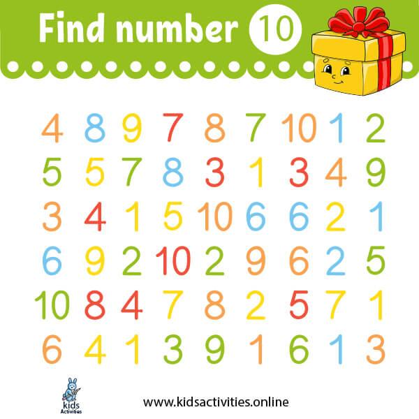 Worksheets for kindergarten math: find number 10