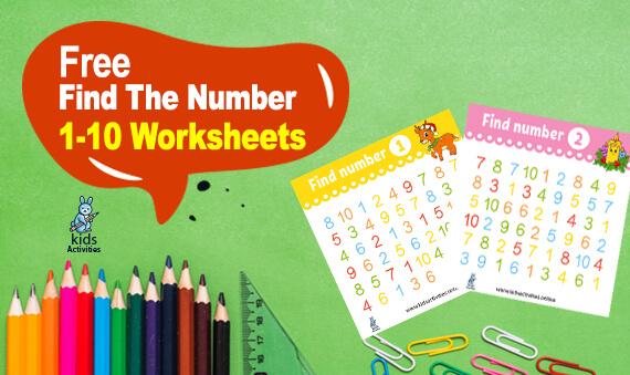Find the Number! 1-10 Worksheets For Kindergarten