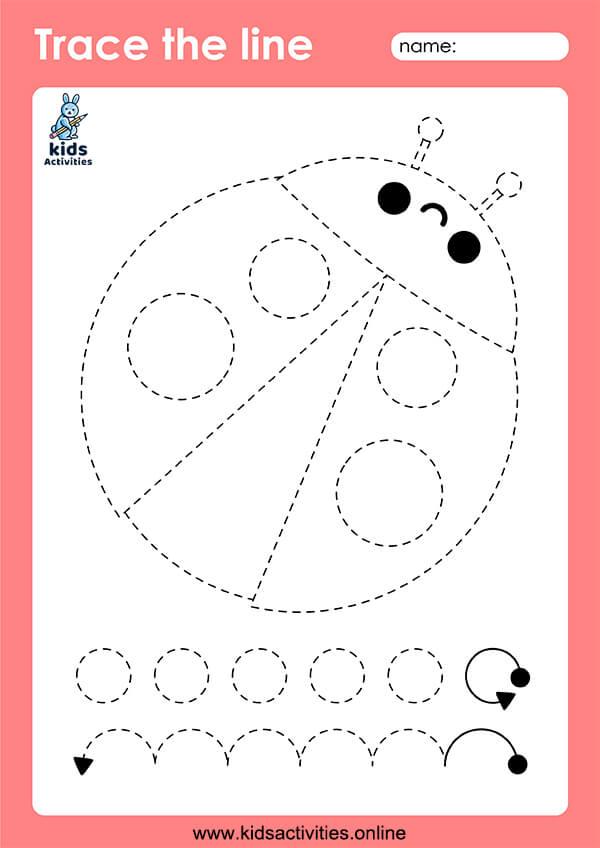 Tracing lines preschool worksheet for kids