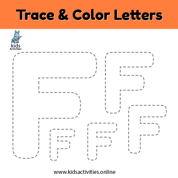 trace and color alphabet writing worksheets Ff