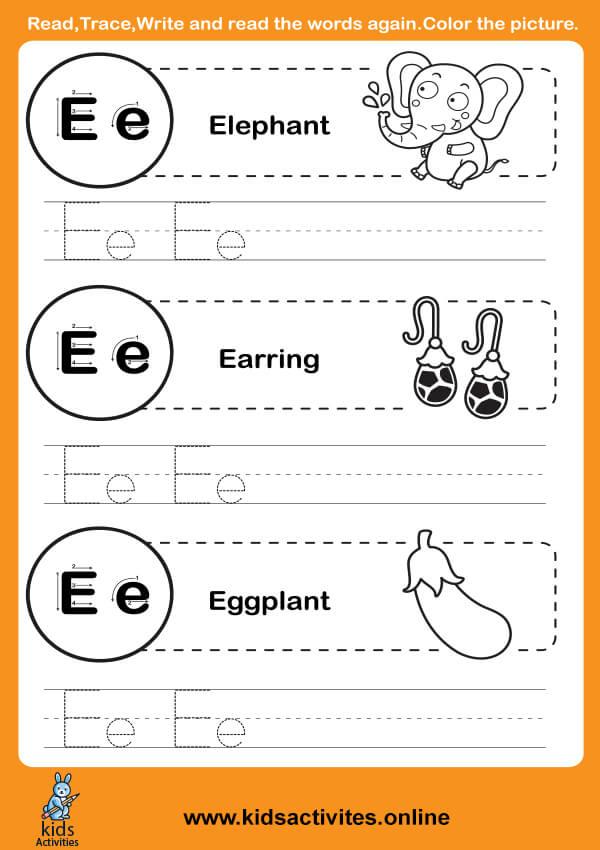Free printable letter tracing (Letter E-e)