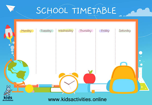 Weekly schedule printable for school