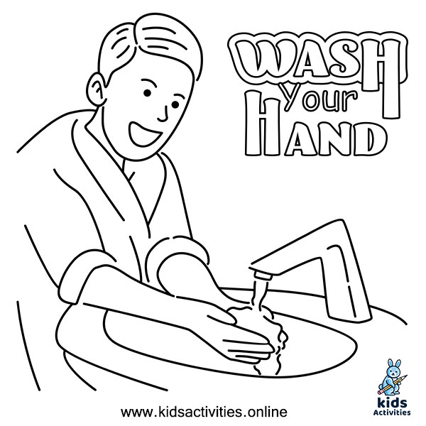 hand washing colouring pages