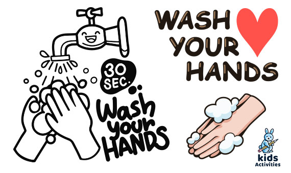 Free wash your hands coloring pages for kids