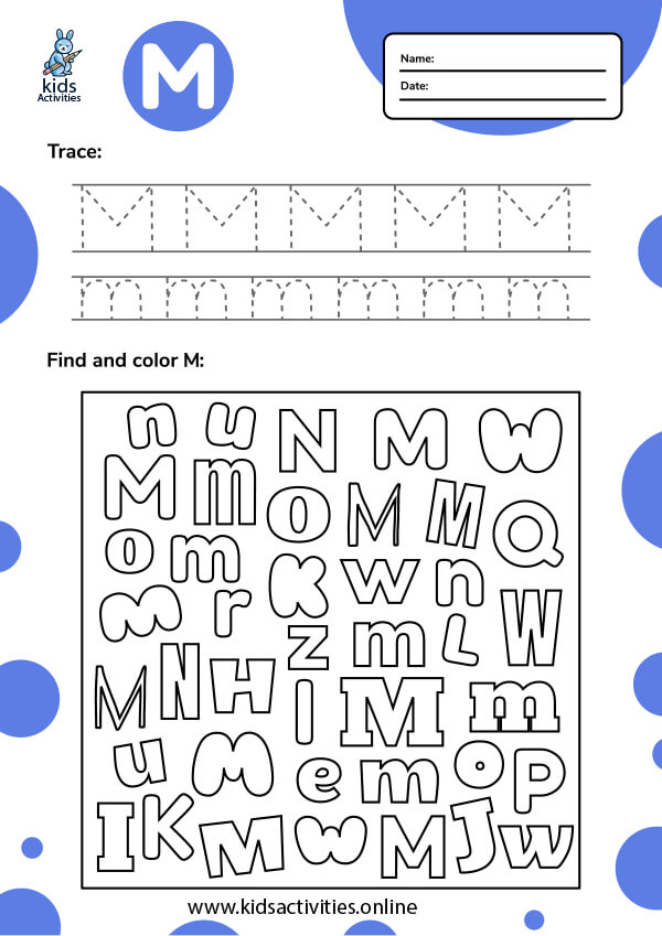 Tracing letter m worksheets.