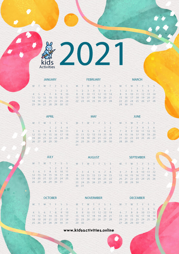 Free Printable 2021 Calendar monthly