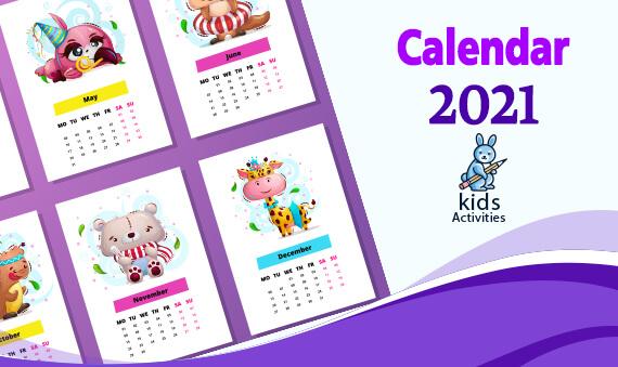Free Cute Colorful Calendar 2021 Printable pdf