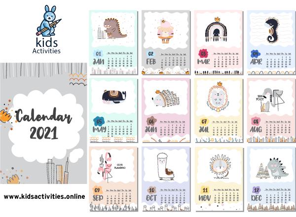 Cutedoodle 2021 calendar printable