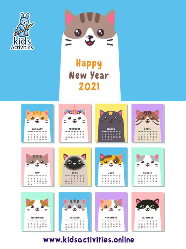 free cute cats printable calendar 2021 pdf