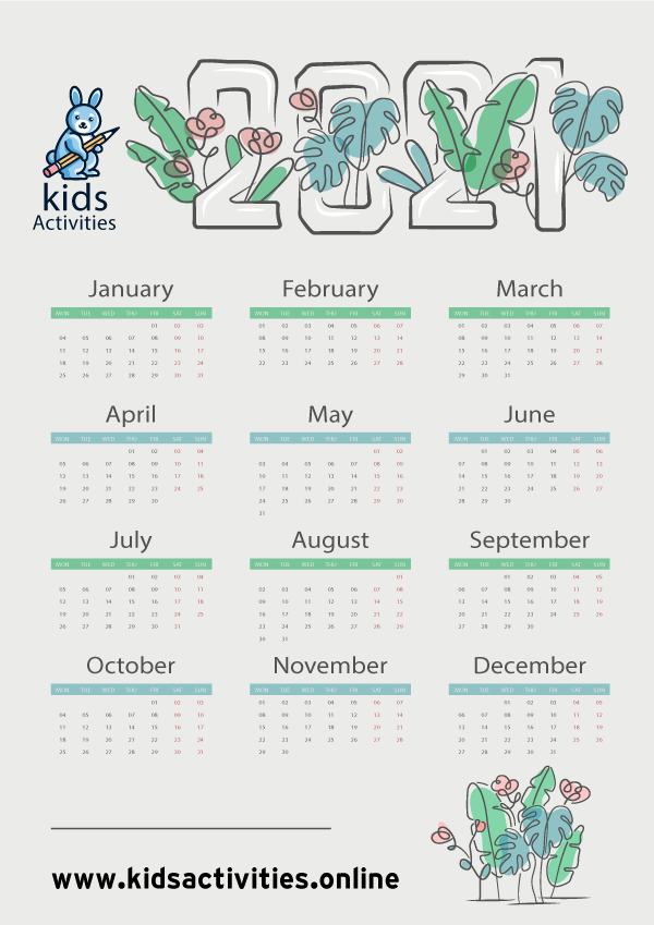 Doodle 2021 Calendar Templates