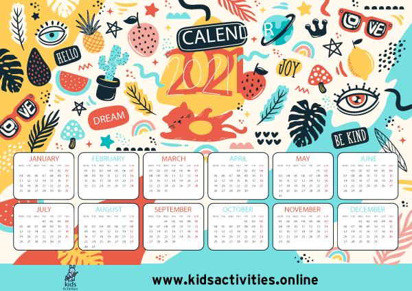 Doodle planner calendar 2021 printable