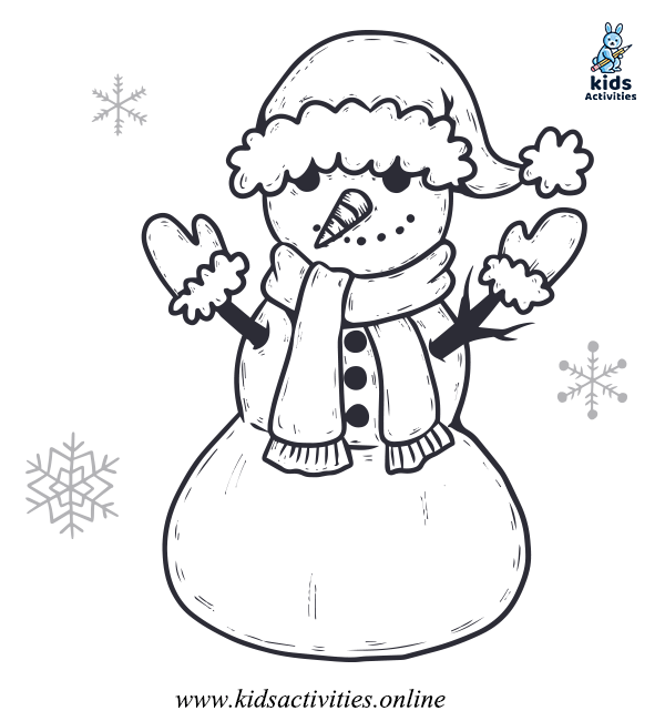 Snowman Winter coloring Pages for preschool